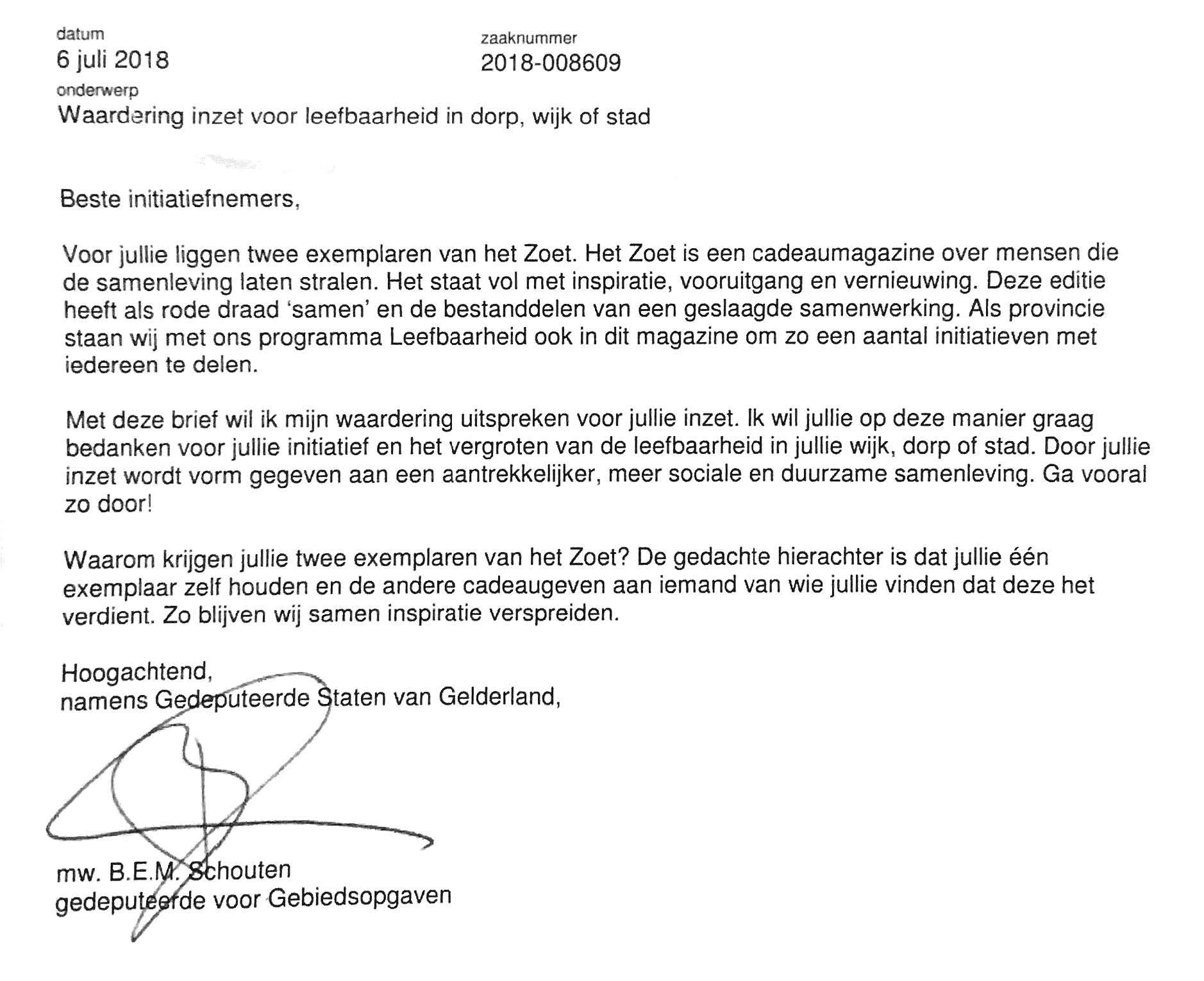 brief provincie Gelderland